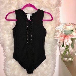 Tops - Black lace up Bodysuit